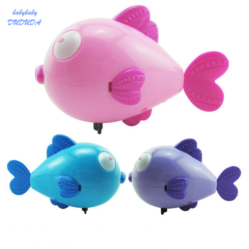 1PCS Cute Cartoon Funny Baby Bath Toy Swimming Animal Love Fish Clockwork Wind Up Toy Shark Plastic Pool Bath Toys Kids Gift