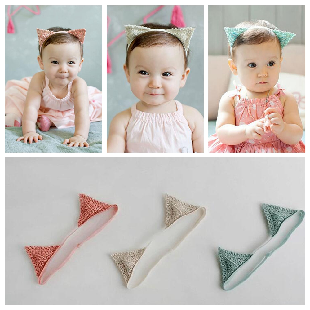 Kawaii Toddler Cartoon Kitty Cat Ear Headband Newborn Hairband Baby Hair Band Bandeau Bebe