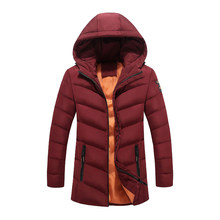 Winter Jacket Men Long Hooded Thicken Warm Parka Stripped Slim Basic Winter Coat Men Windbreakers Casaco Masculino Puffer Jacket(China)