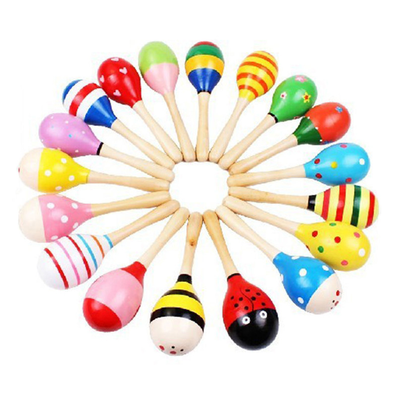 Colorful Small Wooden Hammer Cartoon Sand Ball Knock Wooden Bell Baby Educational Toys Maraca