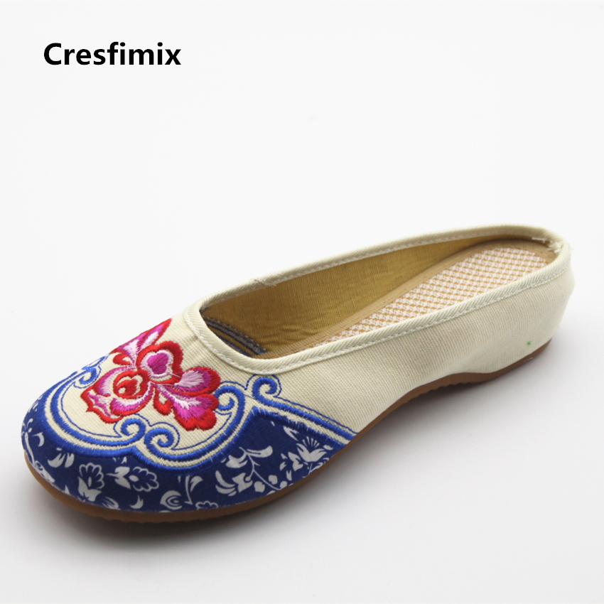 Cresfimix women cute retro dance beige slippers lady casual indoor & outdoor sandals female rubber bottom summer slip on slides cresfimix zapatos women cute flat shoes lady spring and summer pu leather flats female casual soft comfortable slip on shoes