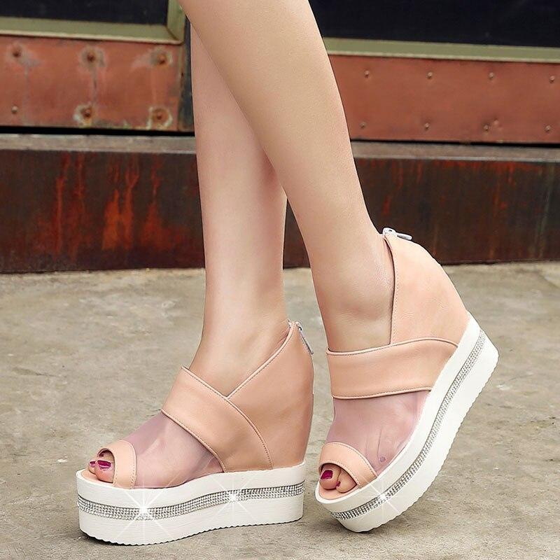 ФОТО 2016 Summer Fashion Women Wedge Sandals Rome Casual Platforms Ultra High Heels zip Open Toe Shoes cover heel Women Pumps AA434