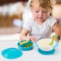 만화 유아 아기 아이 먹이 뚜껑 훈련 그릇 스테레오 아이 먹이 식기 어린이 플레이트 빠는 그릇
