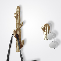 Resin Cactus Wall Hooks Decorative Bathroom Key Wall Holder Coat Hanger Clothes Mounted Wall Hook Gold Home Decor Accessories