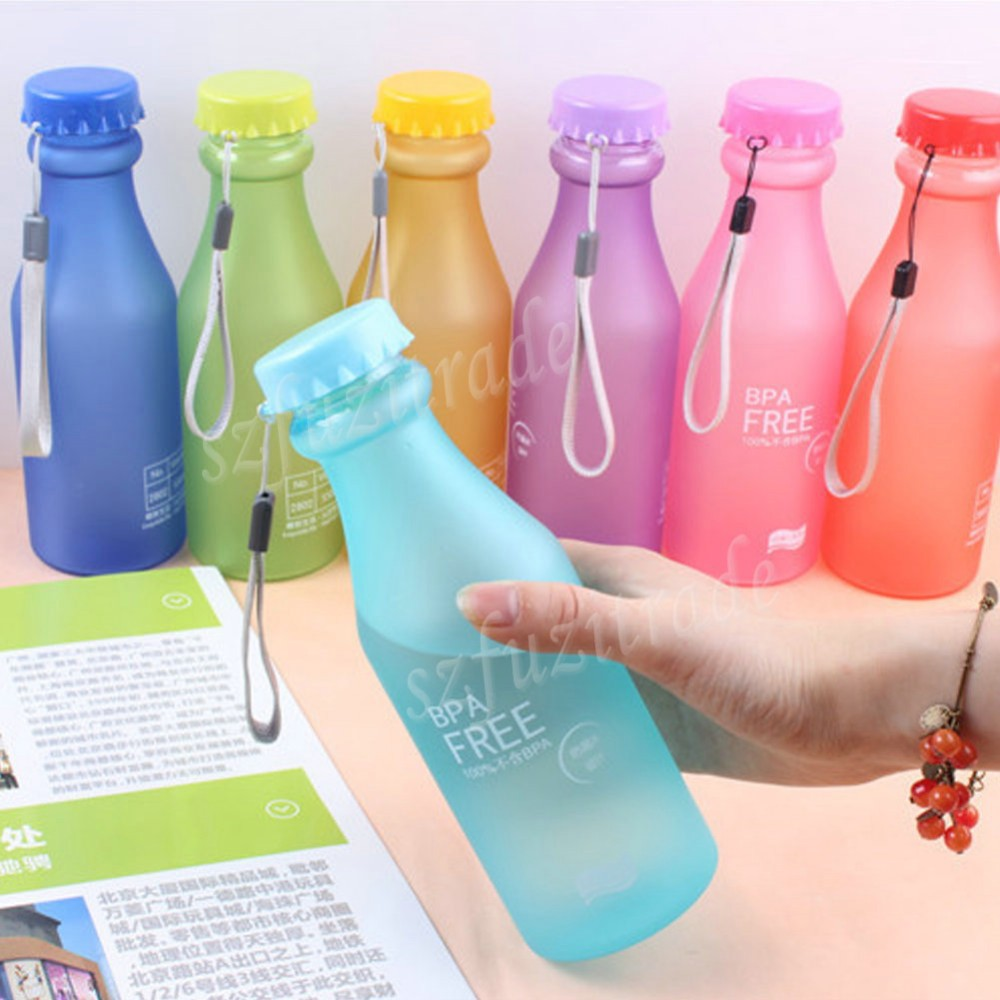 Hot Sale 550ML Candy Colord Portable Leak-proof Water Bottle Sport Unbreakable Plastic Lemon Juice kettle Drinkware