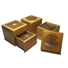 Bamboo Incense Burner with Coil Storage Drawer Plate Furnace Aroma Air Fresh Home Decoration S