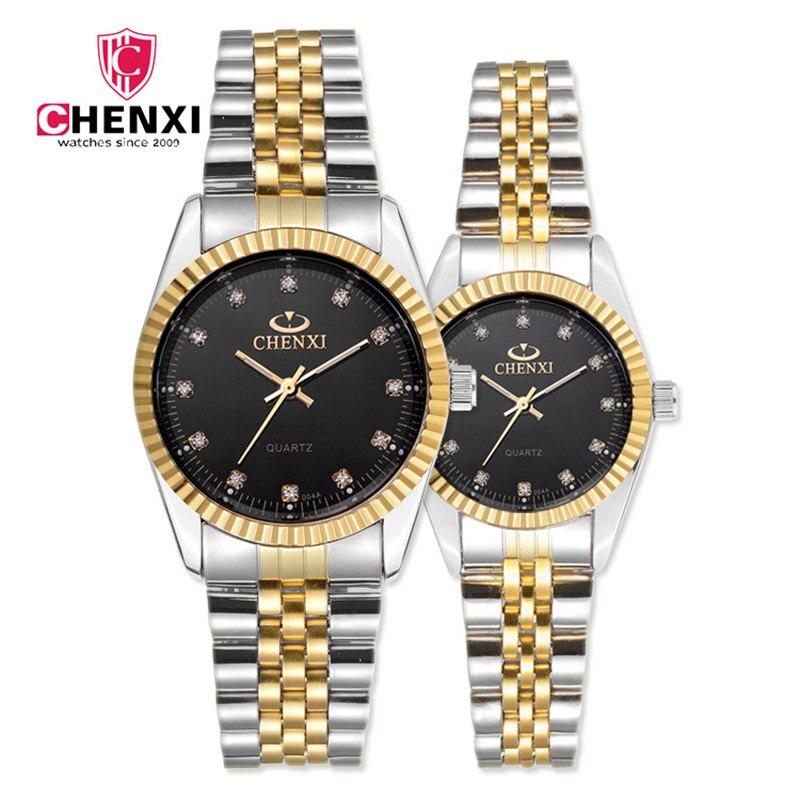 CHENXI Luxus Paar Uhren Frauen männer Liebhaber Uhr Wasserdicht Edelstahl Quarz Kleid Business Männer Uhr Strass