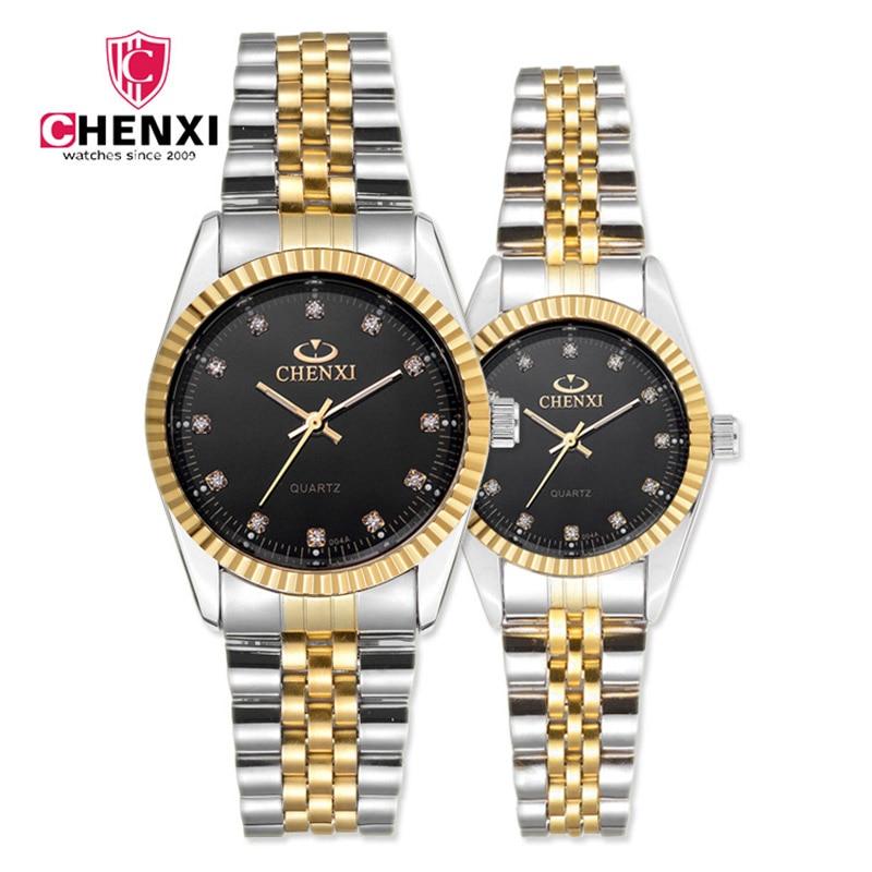 CHENXI Luxury Couple Watches Women Men Lover's Watch Waterproof Stainless Steel Quartz Dress Business Men Clock Rhinestone