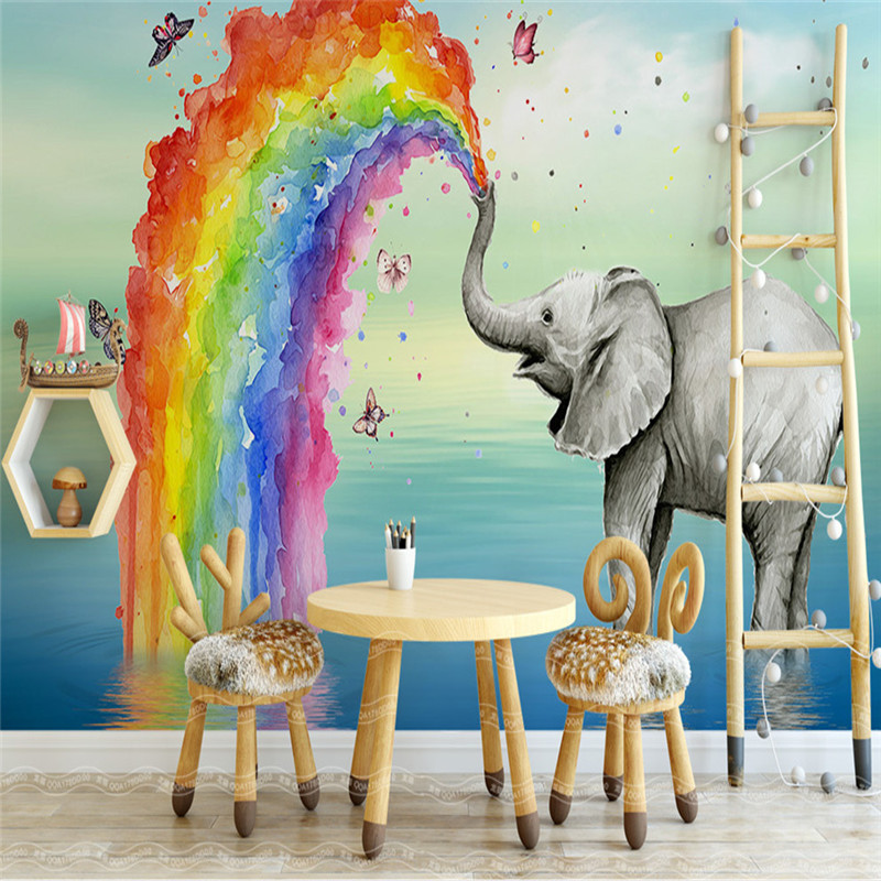 3D Custom Photo Murals Cartoon Pattern Wallpapers Kids for Children Room Background Walls 3D Lovely Rainbow Elephant Wall Papers shinehome fashion makeups modelling salon beauty cosmetic 3d wallpaper wallpapers photo walls murals for 3 d roll wall paper