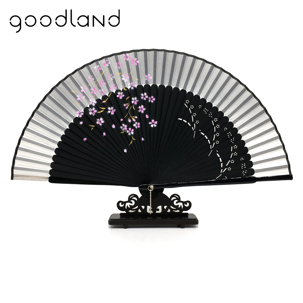 Free Shipping 5pcs Silk Japanese Sakura Painting Folding Pocket Fan with Gift Bag Tassel Wedding Decor Accessories Decoration