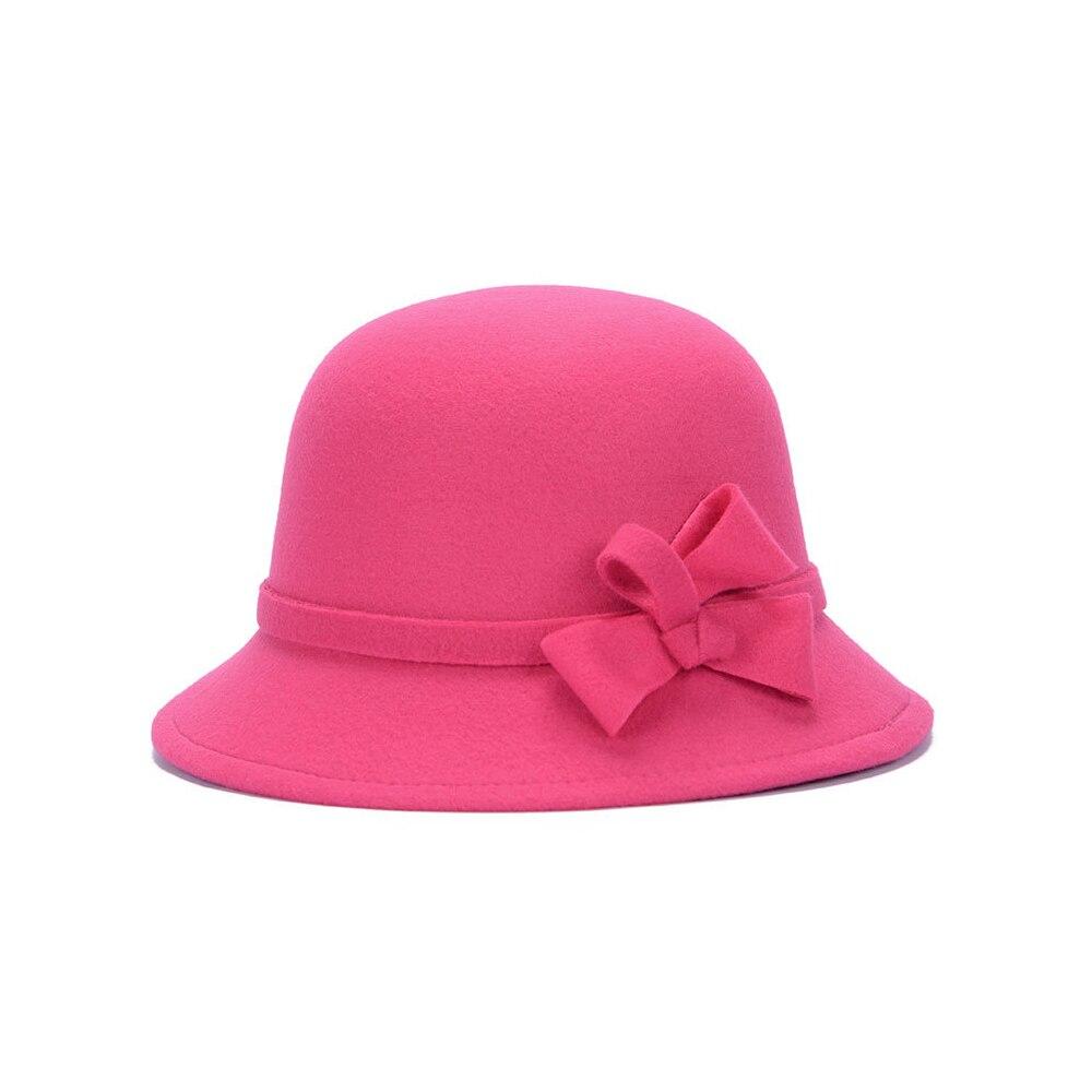Широкополая шляпа винтажные шляпы дамская шляпа с бантом Повседневная шерстяная зимняя фетровая шляпа Регулируемая пляжная дорожная - Цвет: rose red
