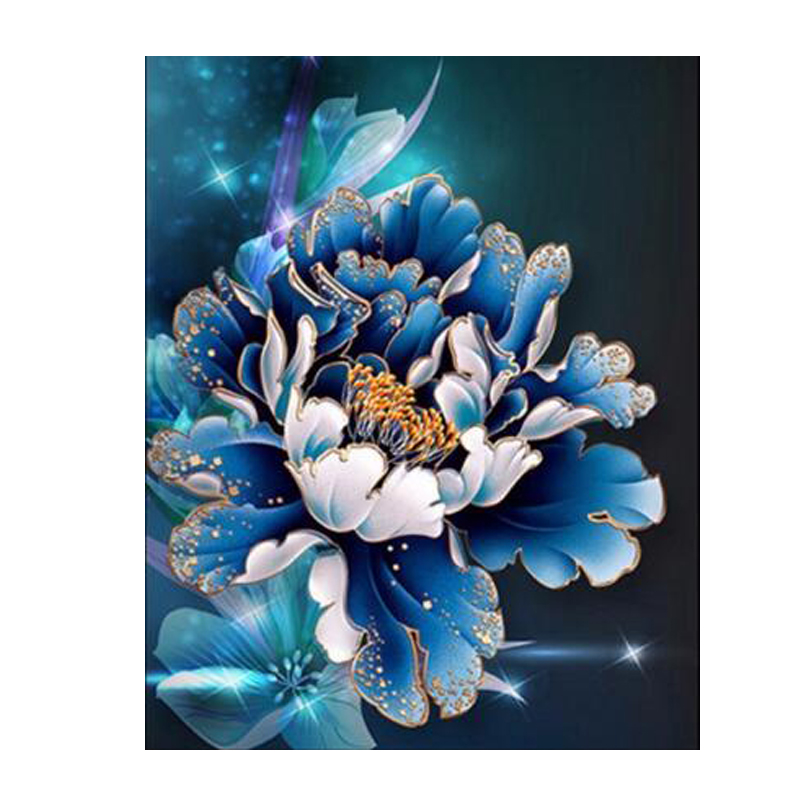 100% Full 5D Diy Daimond Painting Blue Flower 3D Diamond Painting Round Rhinestones Diamant Painting Embroidery cartoon Flower100% Full 5D Diy Daimond Painting Blue Flower 3D Diamond Painting Round Rhinestones Diamant Painting Embroidery cartoon Flower