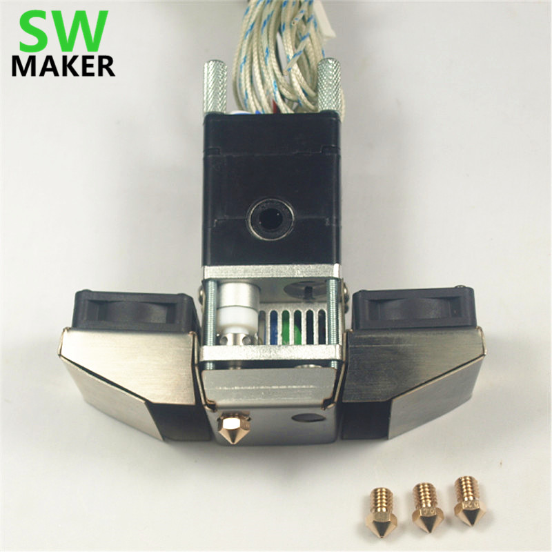 SWMAKER 1.75/3mm Ultimaker 2 Extended 3D printer parts Ultimaker 2+ Extended Olsson block nozzle full hotend kit aluminum v6 hot end mount kit 1 75 3mm for ultimaker original ultimaker 2 um 2 extended 3d printer nozzle extrusion kit