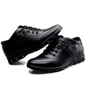 Image 4 - Кроссовки Misalwa мужские увеличивающие рост, на шнуровке, Кожаные сникерсы, зимняя плюшевая повседневная обувь, на осень