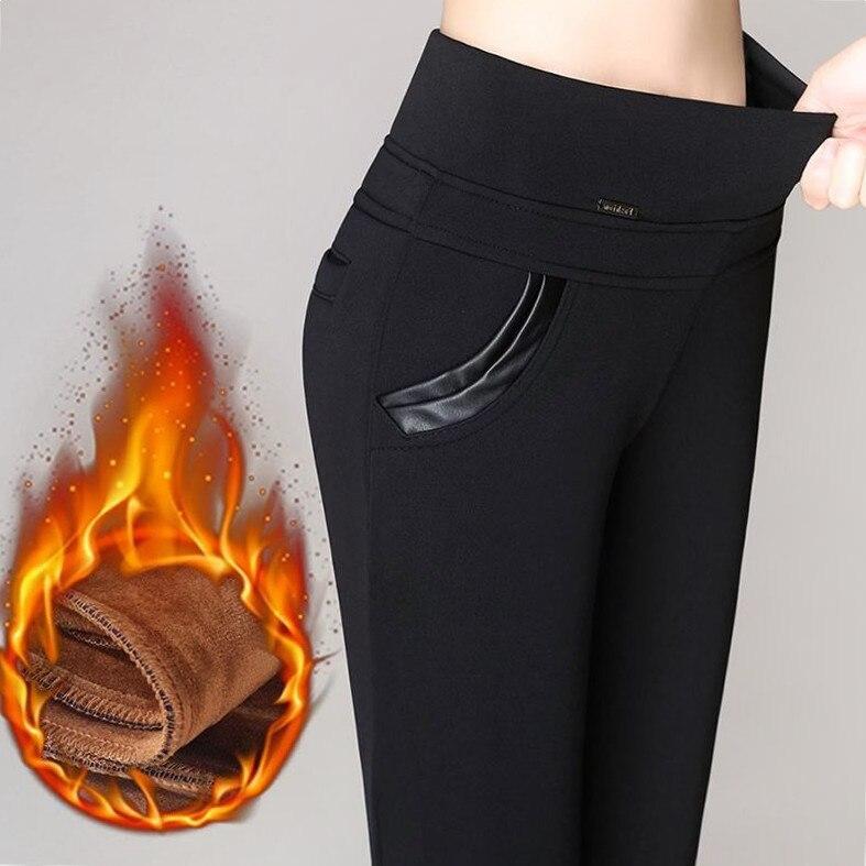 FSDKFAA 2018 Plus Size 5XL 6XL Women Pencil Pants  Autumn Winter Plus Velvet Leggings Office Formal Causal Pants Female Trousers