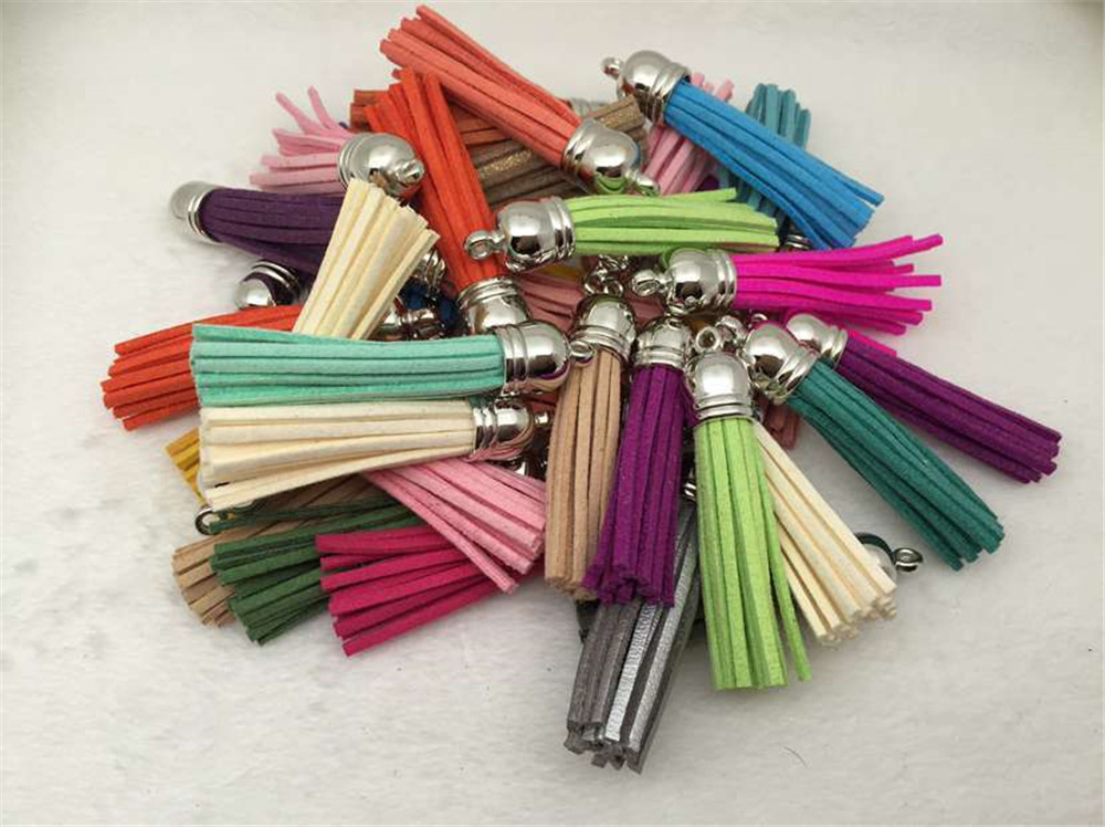 Silver Tassel The Vintage Tassel 10 unids 38mm Strip Leather Tassels for DIY Jewelry Keychain Cell Phone Straps Pendant