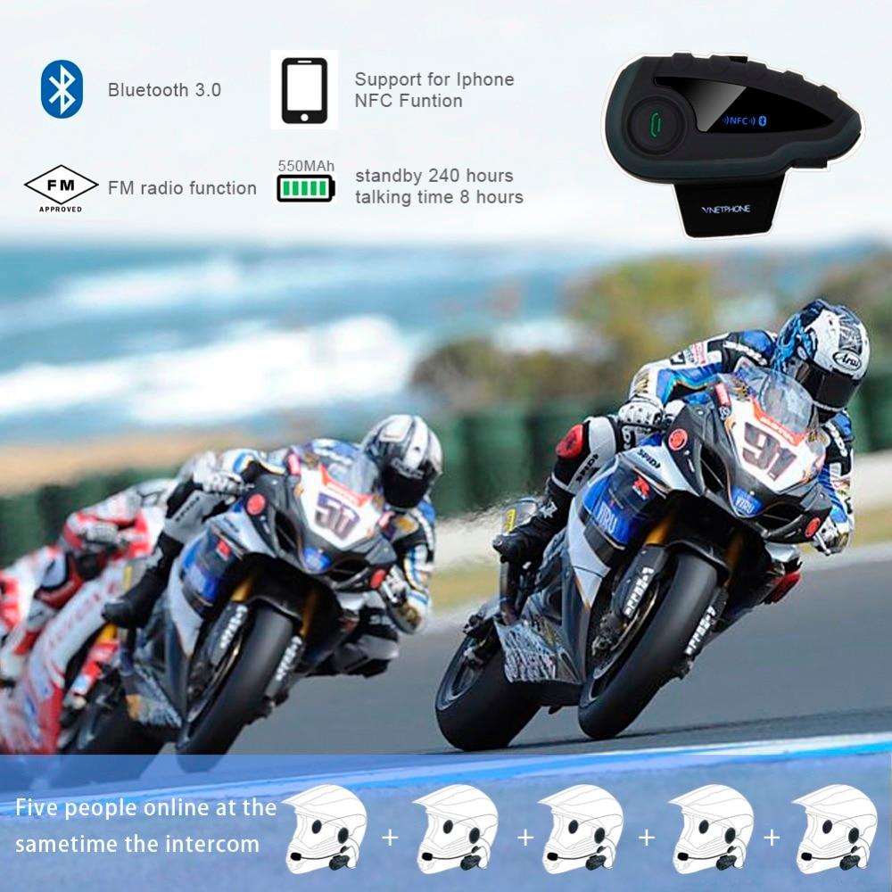 VNETPHONE V8 Intercom 5-Weg Bluetooth Motorfiets Apparatuur Helm - Motoraccessoires en onderdelen - Foto 6