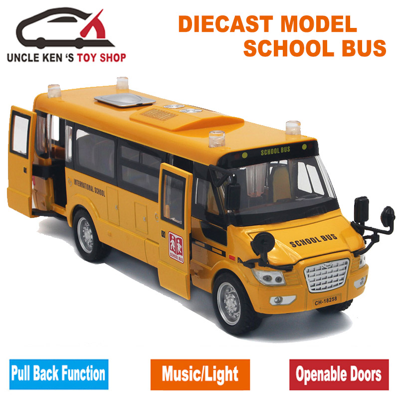Diecast-School-Bus-Model-22Cm-Metal-Toy-Brand-Alloy-Car-For-Boys-With-Gift-BoxOpenable-DoorsMusicLightPull-Back-Function-3