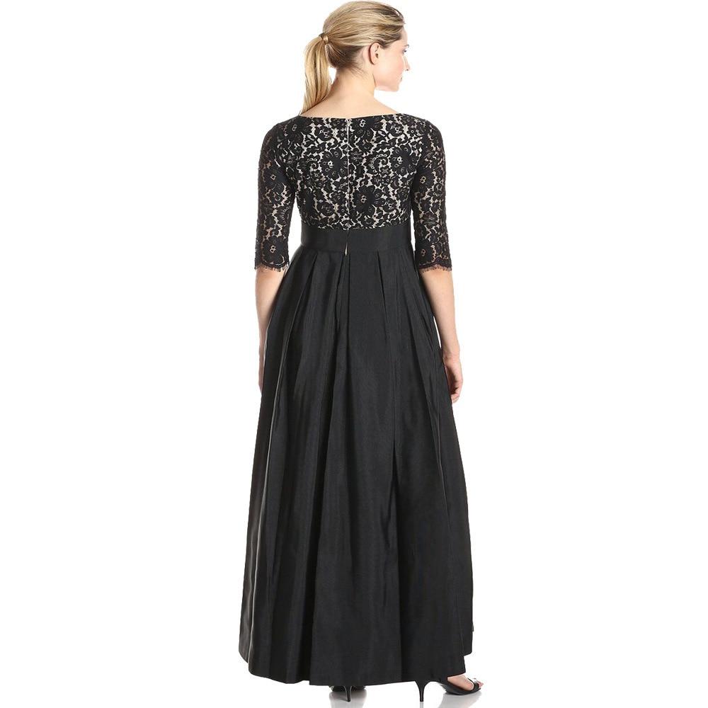7xl Maxi Leorain Robe Plus Xl Soirée 2017 cou Femmes Parti Dentelle Black Noir Oversize Longues Robes Élégant Automne Taille V Patchwork q1wYd