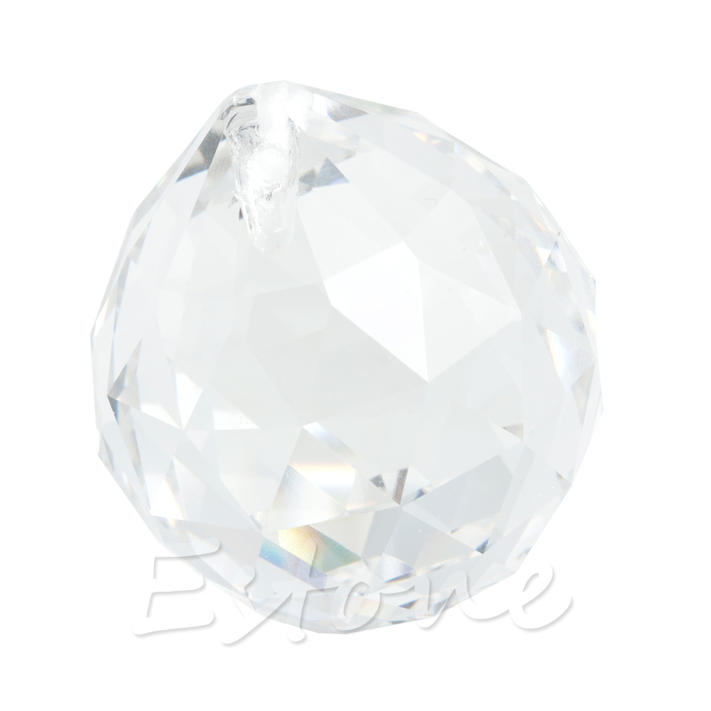 1 Clear Crystal Feng Shui Lamp Ball Prism Rainbow Sun Catcher Wedding Decor 30mm