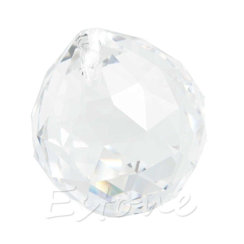 Lámpara de cristal transparente Feng Shui, Prisma de bola de arcoíris, Sun Catcher, decoración de boda, 30mm