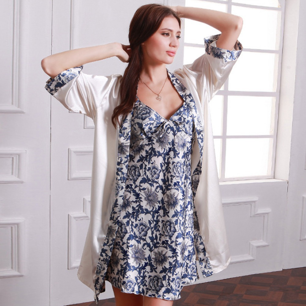 Hot Women Nightgown Robe Sets 2 Pcs set Summer Dress Casual Nightwear  Camisola Pajamas Carafan Sexy Underwear Womens Home Cloth-in Robe   Gown  Sets from ... e3e7954231