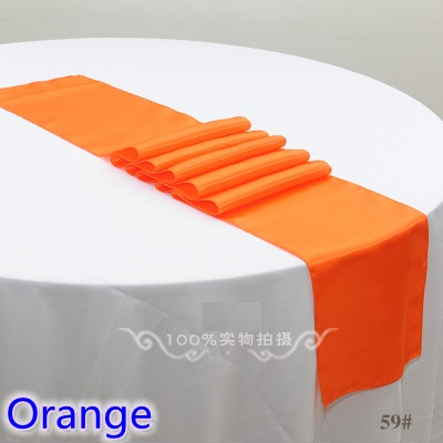wedding decoration table runner,satin table runner,orange colour table runner for wedding,banquet,party decoration
