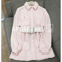 Svoryxiu высокого класса индивидуальный заказ осень зима платье женские роскошные ремни розовый кардиган взлетно посадочной полосы свободны