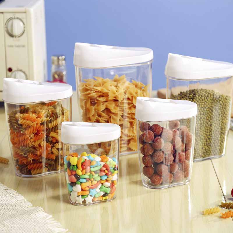 5pc Sealed Storage Box Grains Dried fruit Cans Coffee Tea Tin Transparent Plastic Container Fashion Oval Fresh Collection Boxes