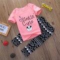 2016 Impressão de Moda Roupas Conjunto de Roupas de Bebê Menino Primavera Verão Estilo Bebê Menina Conjuntos de Roupas de Manga Curta Infantil Roupas de Menina