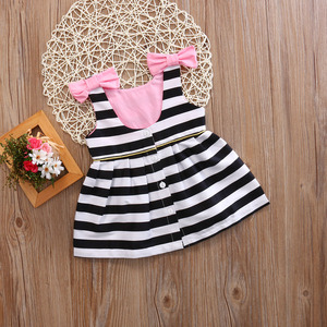 Image 4 - Baby Girls Dress Summer Stripe Dress Baby Dressing for Party Holiday Black and White with Bow Kids Clothes Cute Princess Fashion