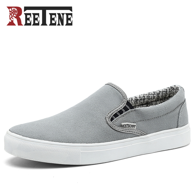 REETENE Canvas Men Shoes Loafers 2018 Fashion Brand Canvas Shoes Comfort Breathable Slip On Casual Shoes Autumn Flats Big Size