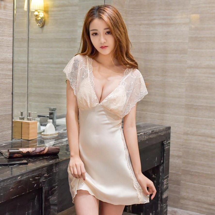 women   nightgowns   Imitation Silk   Nightgown   2018 Sleep Clothing Short Sleeved   Sleepshirts   Women Nightwear Female Nighties Summer