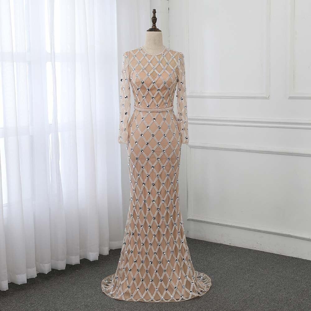 Luxury Crystals Mermaid   Evening     Dress   Long Sleeve Robe De Soiree   Evening   Gown Formal   Dresses