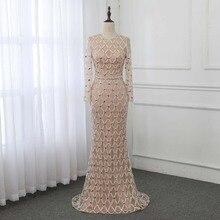 럭셔리 크리스탈 인어 이브닝 드레스 긴 소매 로브 드 Soiree 이브닝 가운 공식 드레스