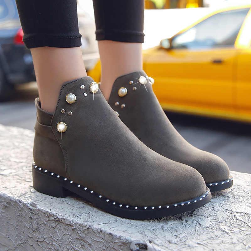 2019 Vintage kadın çizmeler inci ayakkabı kış kadın ayakkabı süet yarım çizmeler düz ayak bileği kısa çizmeler kadınlar katı Martins ayakkabı