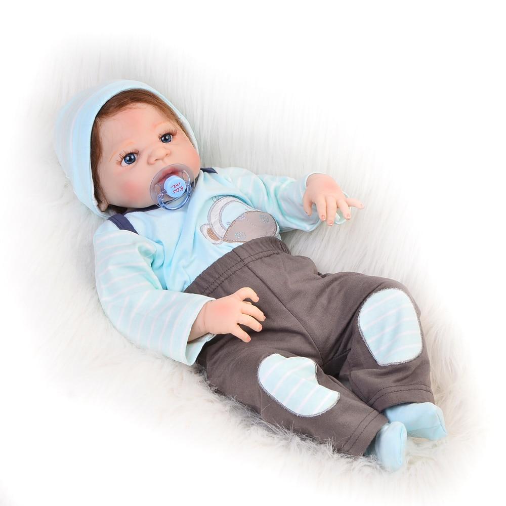Fashion Reborn Baby Dolls 23 Full Body Silicone Vinyl Baby Alive Doll Realistic Boy Bonecas with So Real Fiber Hair
