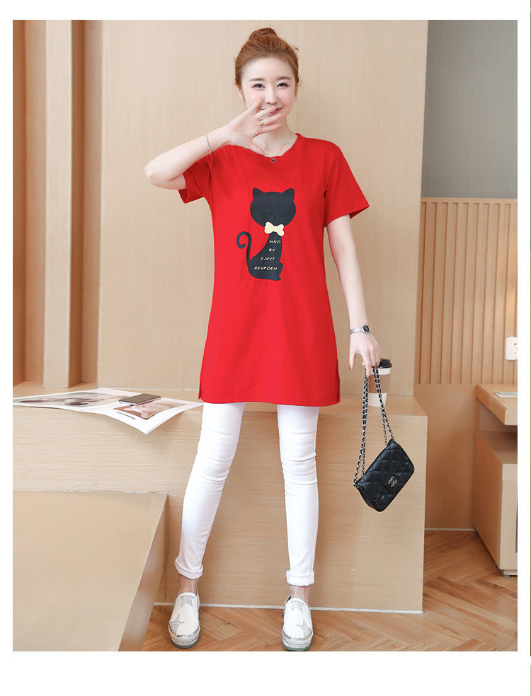 2018 Large size Women T-shirt dress summer Short sleeve Cats print Top Tees Casual O-neck Loose Female Tshirt Plus size 5XL J215 12