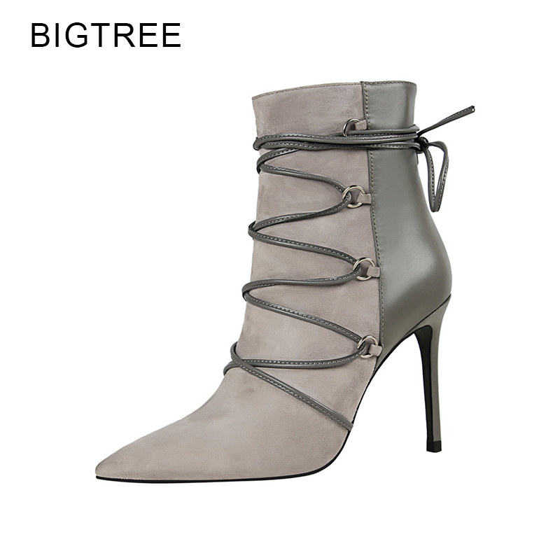 BigTree Ankle Boots Cross Tied Women Shoes Short Plush New Boots High Heels Pointed Toe Warm Female Shoes Size 34-39 berdecia hollow out ankle round toe women boots low square heels cross tied female shoes elegant riding equeatrian women boots