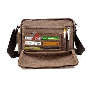 Image 2 - High Quality Multifunction Canvas Bag travel bag men messenger bag brand mens crossbody bag luxury vintage style briefcase w304