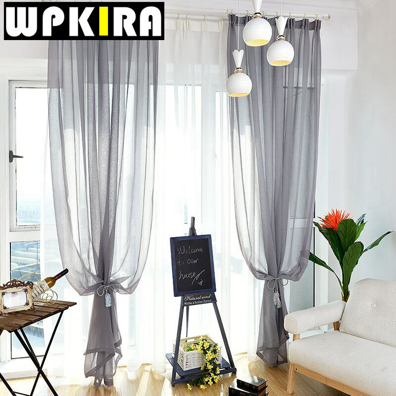 Curtain For Balcony: Modern Solid White Tulle Window Curtains Balcony Kitchen