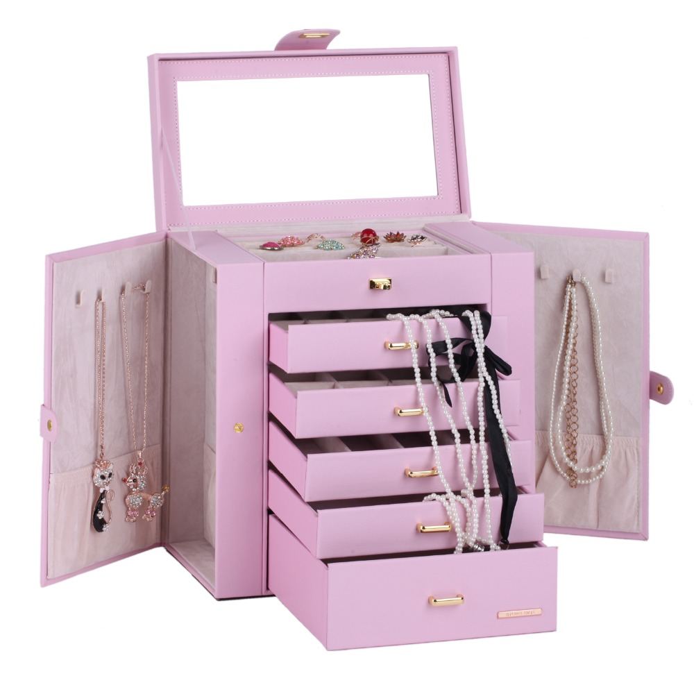 Extra Large Pink Jewelry Organizer PU Jewellery Display Ring Box Necklace Storage Cabinet Sunglasses Mirrored Armoire ZG241 hipsters faux jade carve leg irregular square mirrored sunglasses