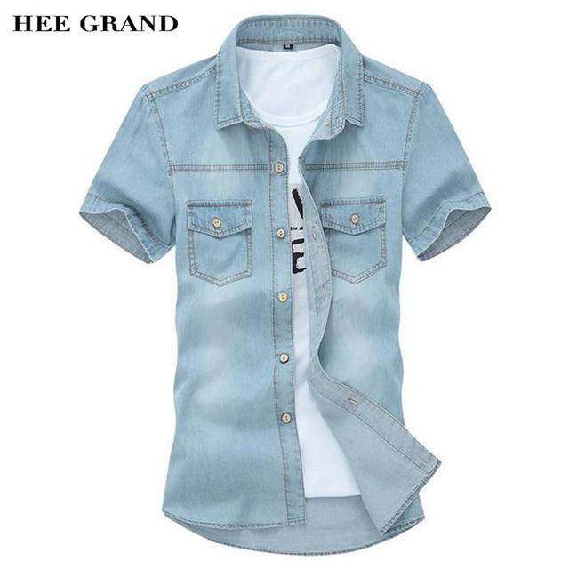 f5e0ba97d HEE GRAND Men s Shirts 2018 New Design Casual Washing Slim Short Sleeve Jeans  Shirts High Quality Plus Size MCS102