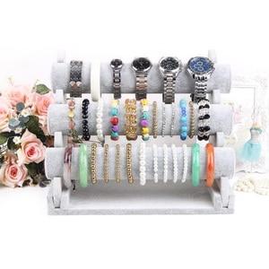 Image 2 - Triple Bracelet Holder Jewelry Display Stand Watch Bangle Bar Necklace Storage Organizer Gray