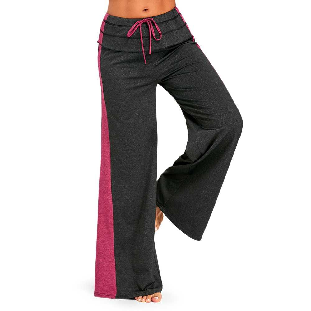 1f9bfe9e9dd53a Women Elastic Waist Wide Leg Pants with Color Block Female Mid Waist  Patchwork Loose Trousers Casual