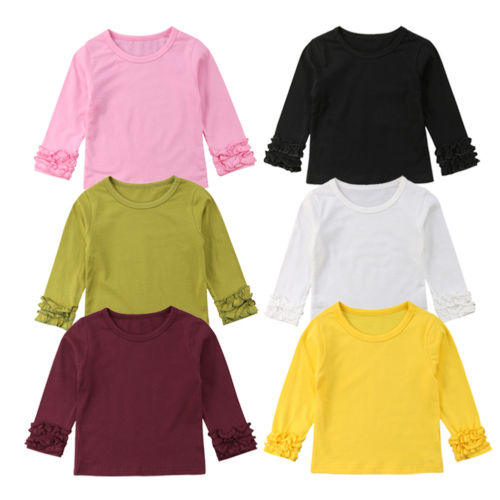 100% QualitäT Nette Neugeborene Kinder Baby Mädchen Solide Rüschen Langarm T-shirt Tops T-stück Beiläufige Baumwolle Kleidung Outfit Oansatz Bluse Alter 6 Mt-5 T