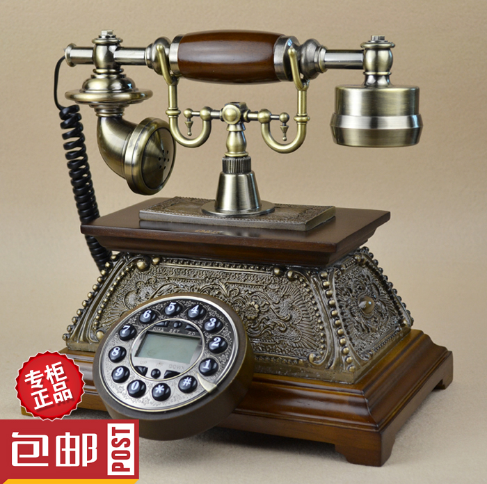 Special offer new high-end antique wood telephone / / continental Retro Vintage telephone corded phone ringing tones