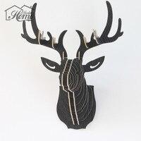 Uitstekende 3D Houten Model Muur Opknoping Deer Head Elk Hout Dier Wildlife Gift Ambachten Home Decor DIY