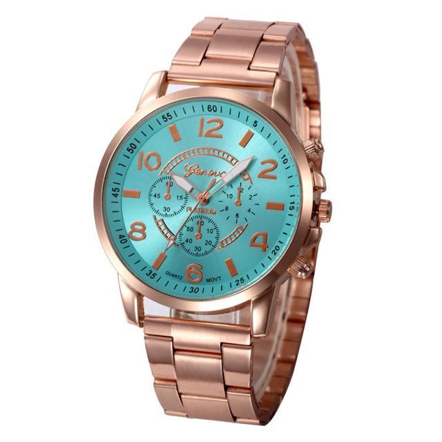 CQQ Femmes Montre En Acier Inoxydable de Rose D'or De Luxe De Mode Robe Genève Montre Horloge montre femmes Relogio Feminino