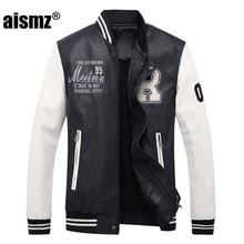 Aismz New Embroidery Baseball font b Jackets b font Coats Pu Faux font b Leather b